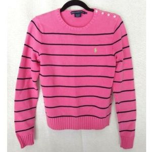 Ralph Lauren Sport pink crew pullover sweater L